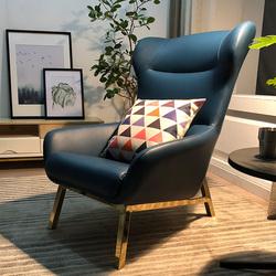 北欧休闲老虎椅单人沙发轻奢个性客厅卧室酒店客房铁艺真皮沙发椅