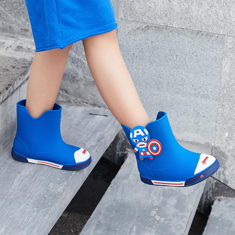 迪士尼中童儿童雨鞋男童水靴宝宝小孩卡通时尚短筒防滑雨靴女水鞋