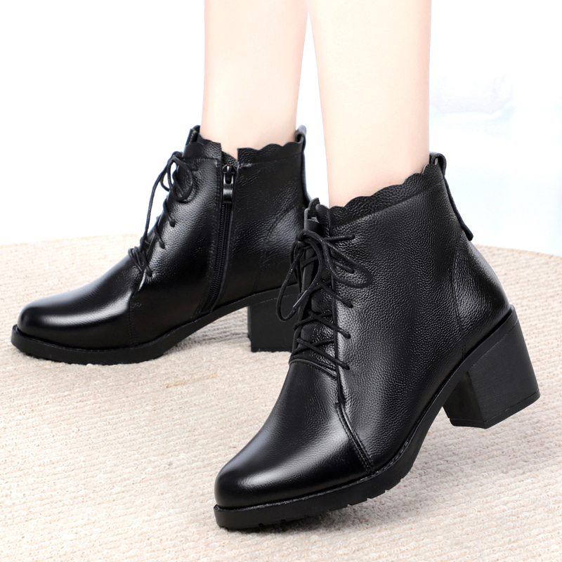 Genuine leather womens single boots full leather lace up high top womens cotton shoes thick heel casual thin velvet autumn and winter big size mothers cotton shoes