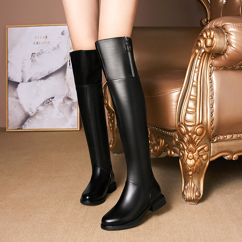 New over knee boots autumn and winter leather high boots thin Martin boots velvet womens cotton shoes snow boots 41