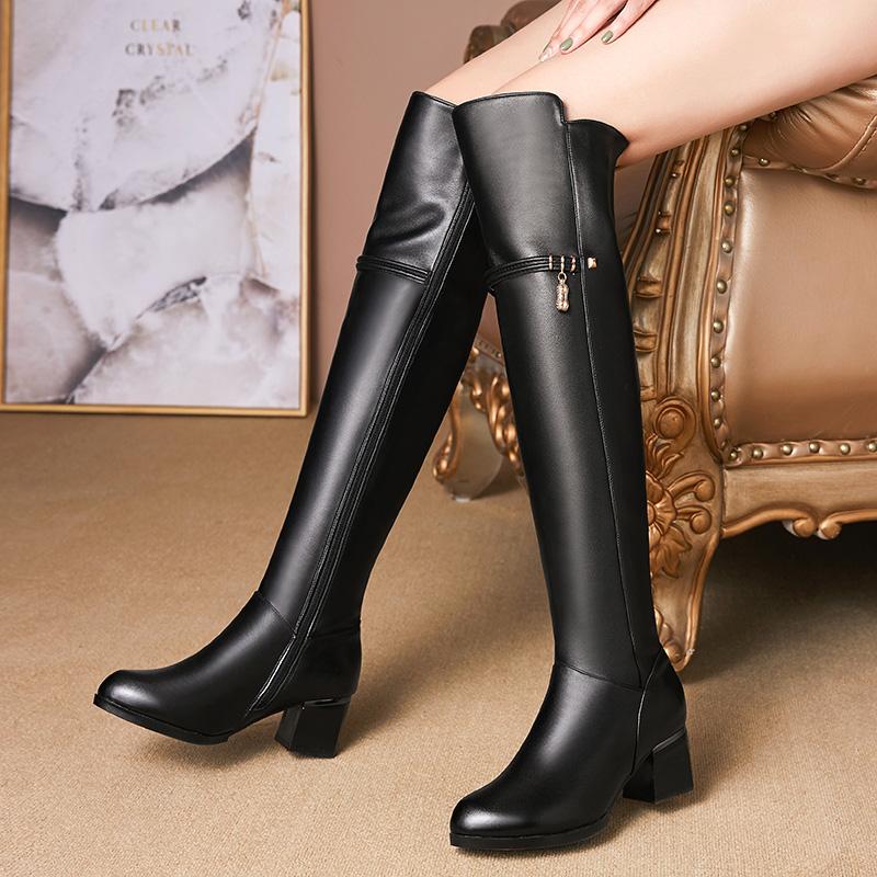 19真皮粗高跟马丁靴时尚高筒靴显瘦过膝长靴加绒棉皮靴简约女棉鞋