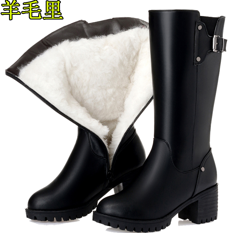 2019 new winter wool womens boots Wool Womens cotton padded shoes British large snow shoes Martin boots Korean medium boots