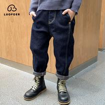 男童加绒裤子2020年新款儿童棉裤冬装秋冬季加厚牛仔裤大童冬款潮