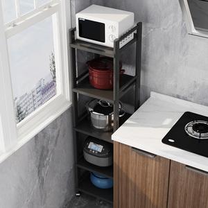 不锈钢夹缝厨房落地微波炉置物架