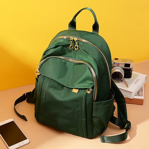 时尚双肩包女2021新款大容量牛津布旅行包女士休闲小背包帆布书包