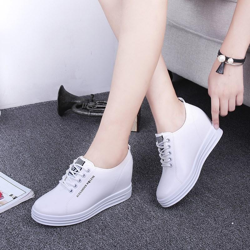 2018春秋季新款韩版小白鞋女内增高显瘦透气女鞋运动休闲厚底单鞋
