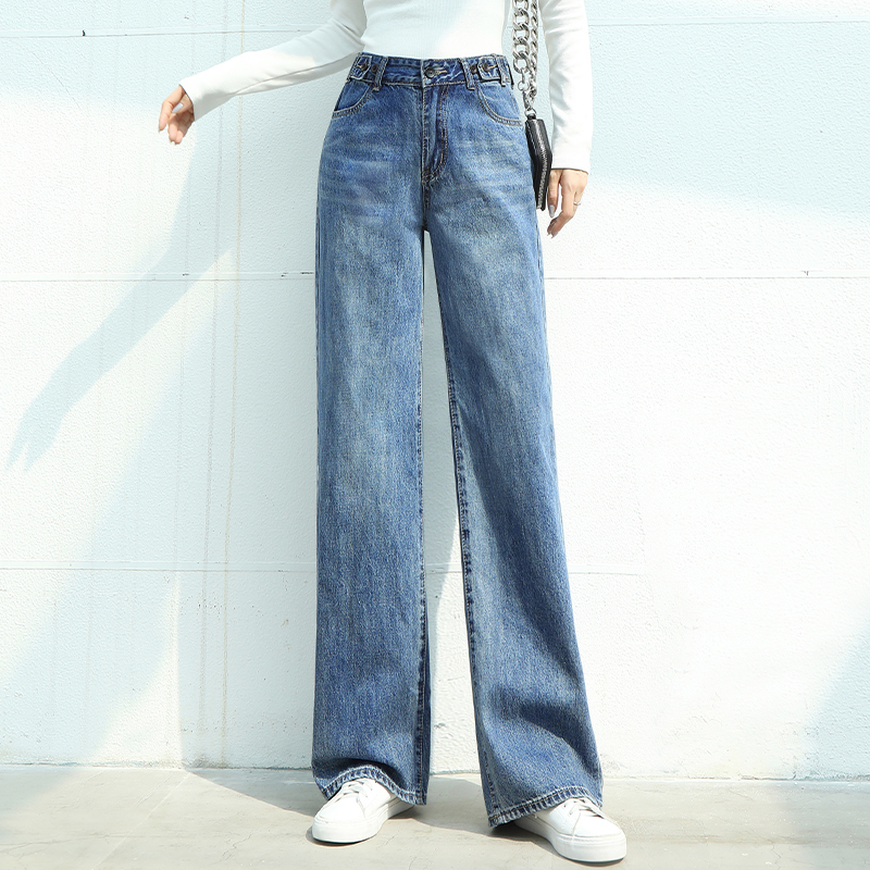 European new style jeans wide leg pants women's slim high waist pants with a sense of sagging spring and summer loose air straight tube pants