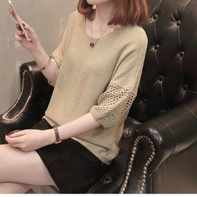 2020春秋新款镂空罩衫中袖针织衫