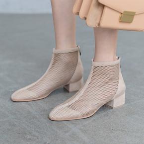 新款大小码女鞋镂空网纱凉靴女粗跟短靴女春夏中跟凉鞋薄款马丁靴