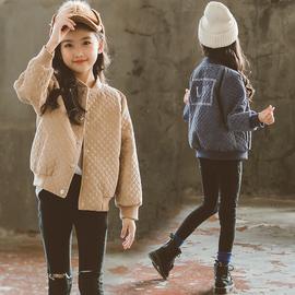 中大童棒球服女童外套夹棉秋冬2020新款童装洋气儿童夹克冬装上衣图片