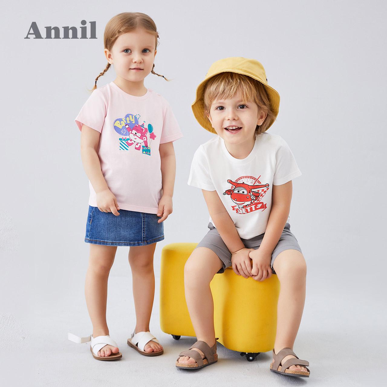 安奈儿童装男女童T恤薄2020夏季新款超级飞侠洋气宝宝T恤圆领短袖