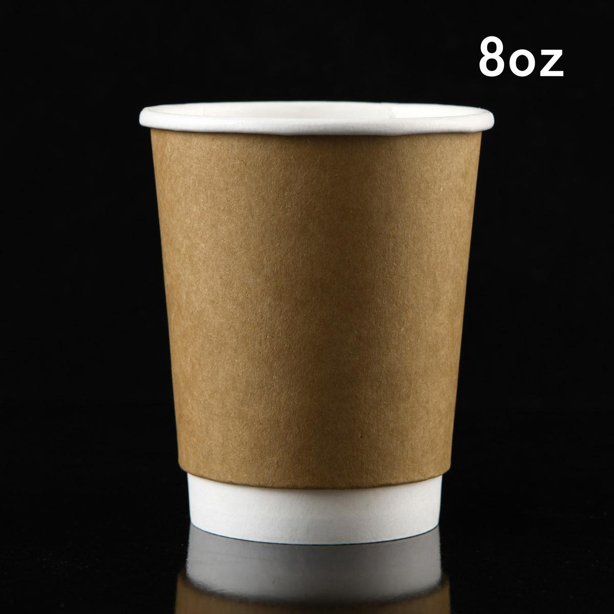 紙杯 一次性紙杯加厚豆漿奶茶咖啡杯紙杯子8A牛皮雙層杯帶蓋100隻