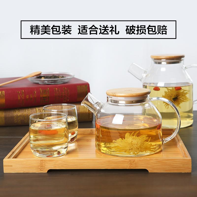 青蘋果大茶壺過濾泡茶壺玻璃加厚加熱花茶壺耐高溫煮水壺茶具套裝
