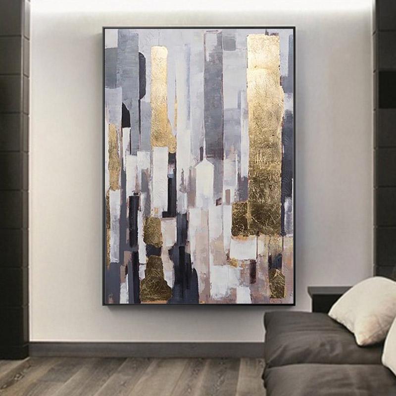 后现代油画港式抽象挂画金箔轻奢客厅别墅样板房巨幅竖手绘装饰画