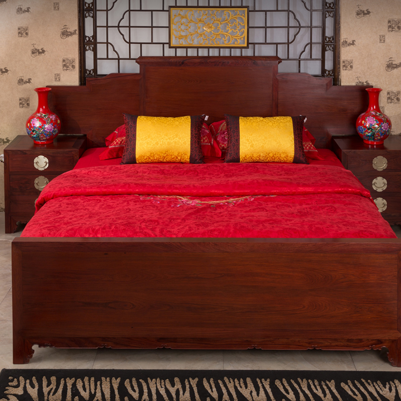 Barry sandalwood double bed bedside table acid wood rosewood solid wood 1.8m big bed bedroom combination furniture