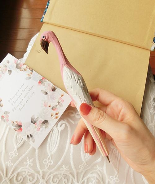 Внешней торговли розовые фламинго мультфильм лося деревянный резной деревянный животных шариковой ручки