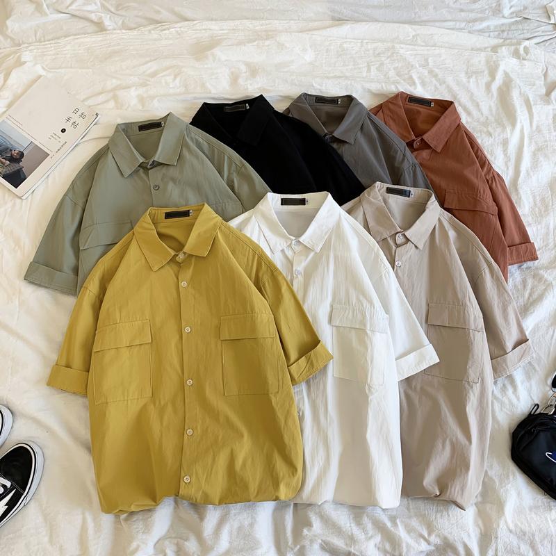 夏季新款短袖衬衫男宽松工装五分袖衬衣男士韩版潮流帅气半袖上衣