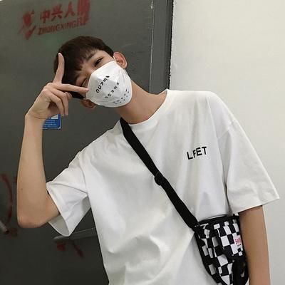 夏季新款短袖男宽松五分袖T恤韩版潮流半袖男士简约百搭体恤上衣