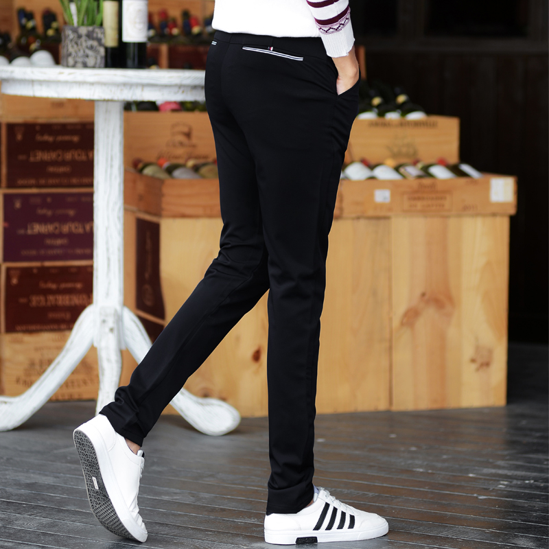 夏季韩版休闲裤男长裤小脚裤修身潮青少年男生裤子男士小西裤薄款