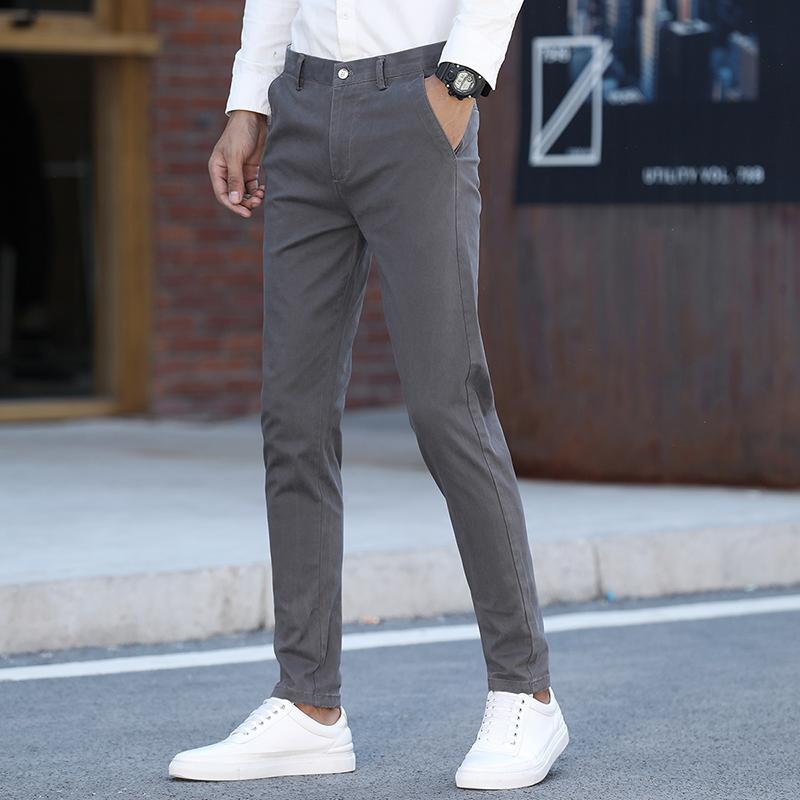 春夏季男士西装裤男人西裤修身长裤商务休闲裤小直筒裤子深灰色弹