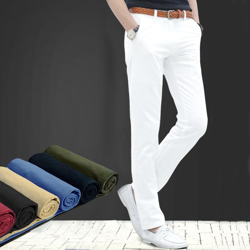 夏季潮流男装纯白色休闲裤男士修身小直筒长裤夏天男士白裤子棉质