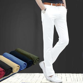 夏季潮流男装纯白色男士修身休闲裤