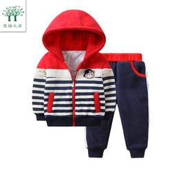 2020男宝宝秋冬卫衣套装一三岁儿童冬装男童婴儿加绒小童加厚童装