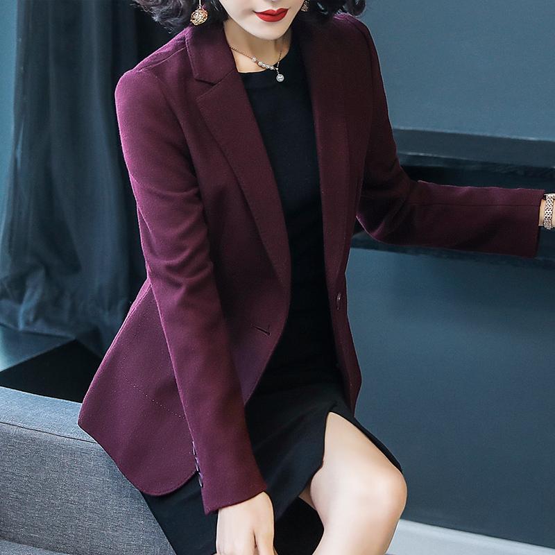 2020秋冬新款职业修身韩版女士小西服加厚羊毛休闲西装外套酒红色