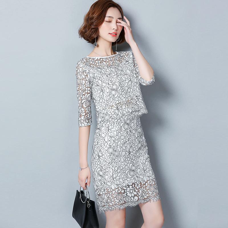 蕾丝两件套2021夏季新款上衣+半身裙套装春秋时尚名媛女装连衣裙