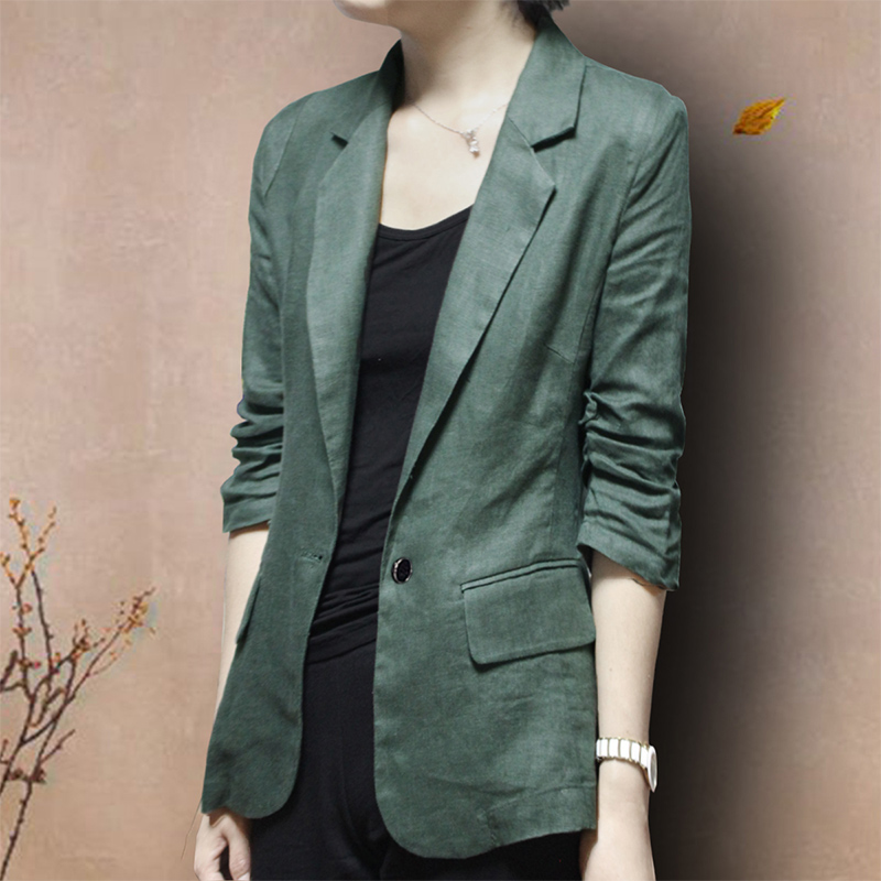 Cotton and linen small suit jacket Korean version of the new thin slim linen suit three-quarter sleeves ladies plus size casual spring and autumn