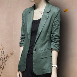 棉麻小西装外套韩版新款薄款修身