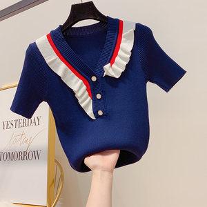 夏季短袖女装新款甜美荷叶边针织衫气质chic撞色V领修身T恤上衣潮