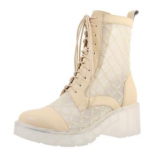 2020年新款網紗馬丁靴女夏季薄款百搭靴子夏天杏色鏤空英倫風短靴