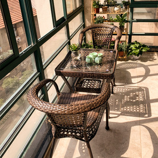 藤椅三件套组合休闲庭院网红腾滕椅子室外阳台小茶几铁艺户外桌椅
