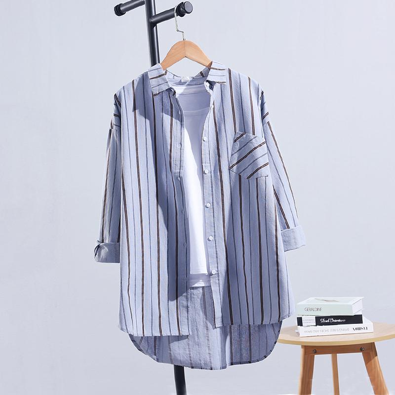 中长款竖条纹2021春秋季新款衬衫