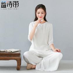 茶艺师服装女禅意女装棉麻两件套装复古中国风佛系居士衣服素衣