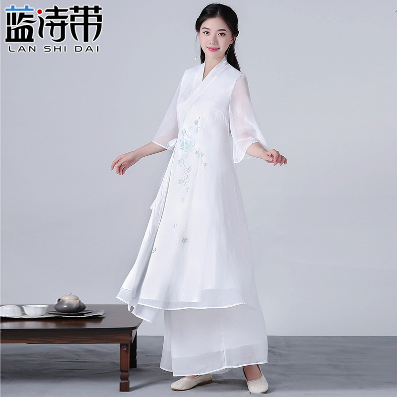 Meditative clothes Chinese style autumn dress retro Zen clothes tea master clothing Zen Italian tea service lay people