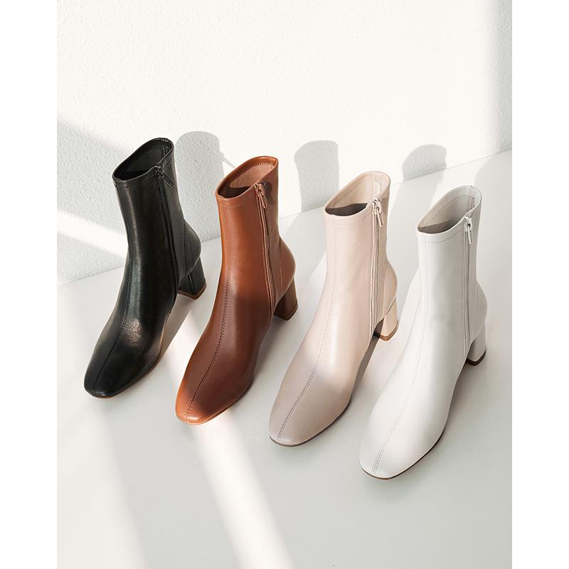 黑色真皮白色小短靴女春秋单靴粗跟马丁靴子女冬季加绒网红瘦瘦靴
