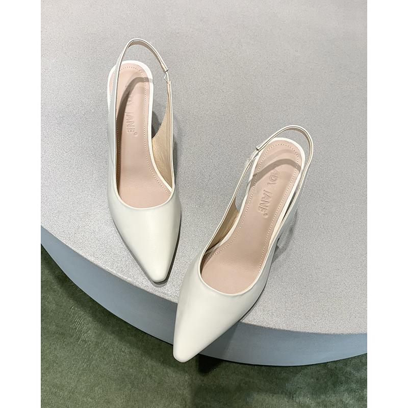 简女郎白色真皮半包头凉鞋女仙女风2019新款方头细跟后空高跟鞋女