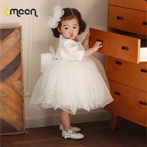 儿童礼服小花童女婚礼洋气公主裙女童婴儿宝宝一周岁生日蓬蓬纱春图片