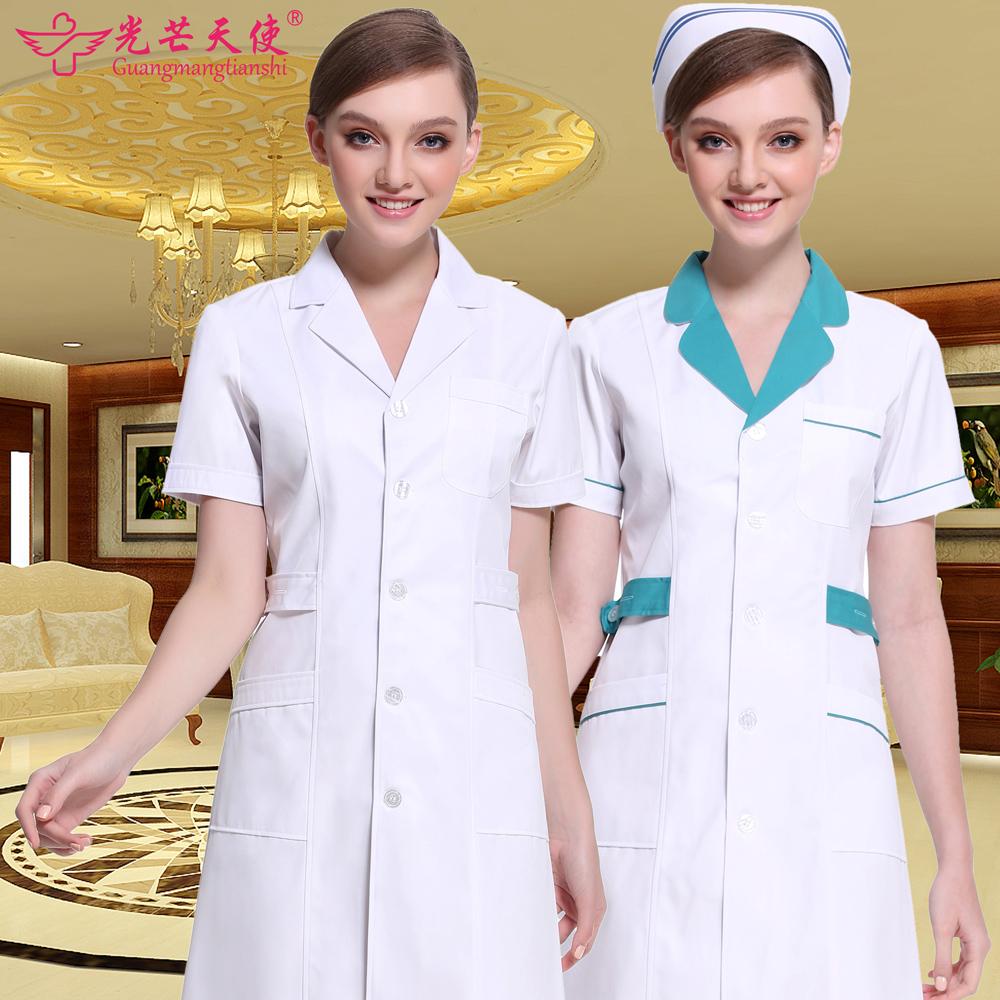 白大褂短袖女护士服夏季长袖医生服男收腰实验服美容院药店工作服