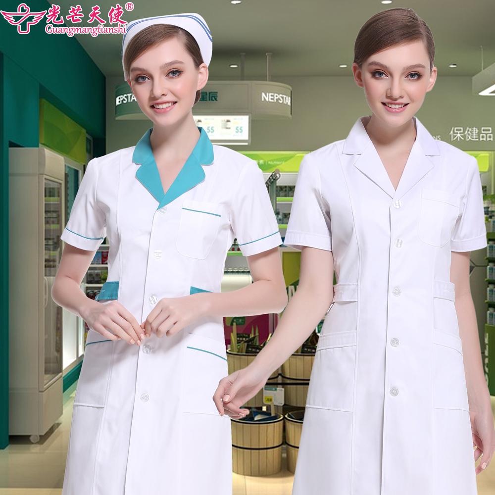 护士服夏季短袖女白大褂长袖医生服男美容院纹绣师药房药店工作服