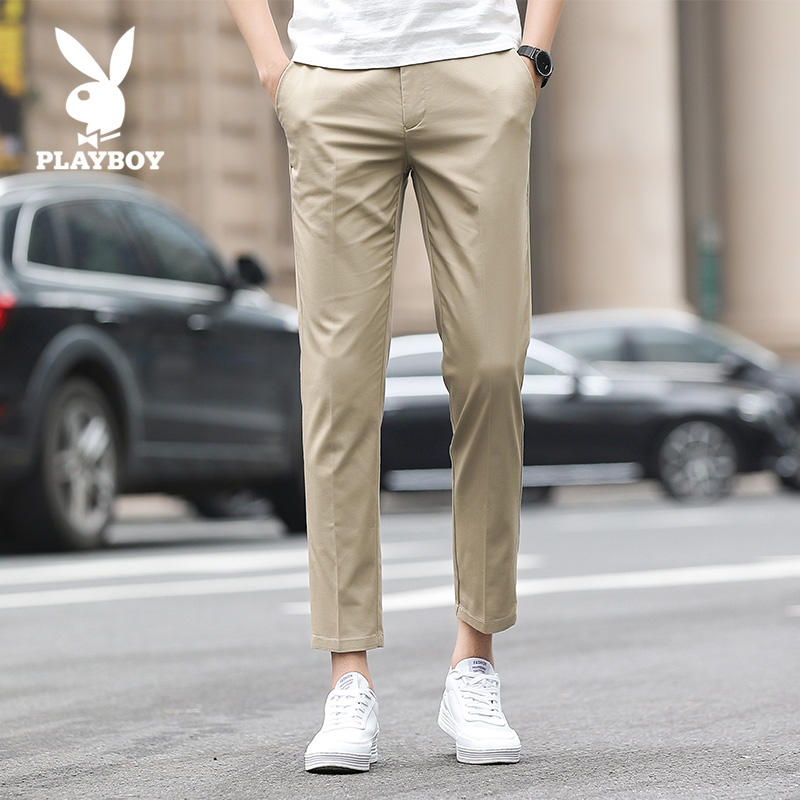 Playboy casual pants men's pants thin loose 2020 new trend spring and summer nine point trousers straight tube
