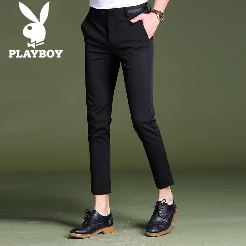 Playboy 9-minute trousers men's trousers casual trousers, slim feet Korean version of fashion summer new 9-minute trousers