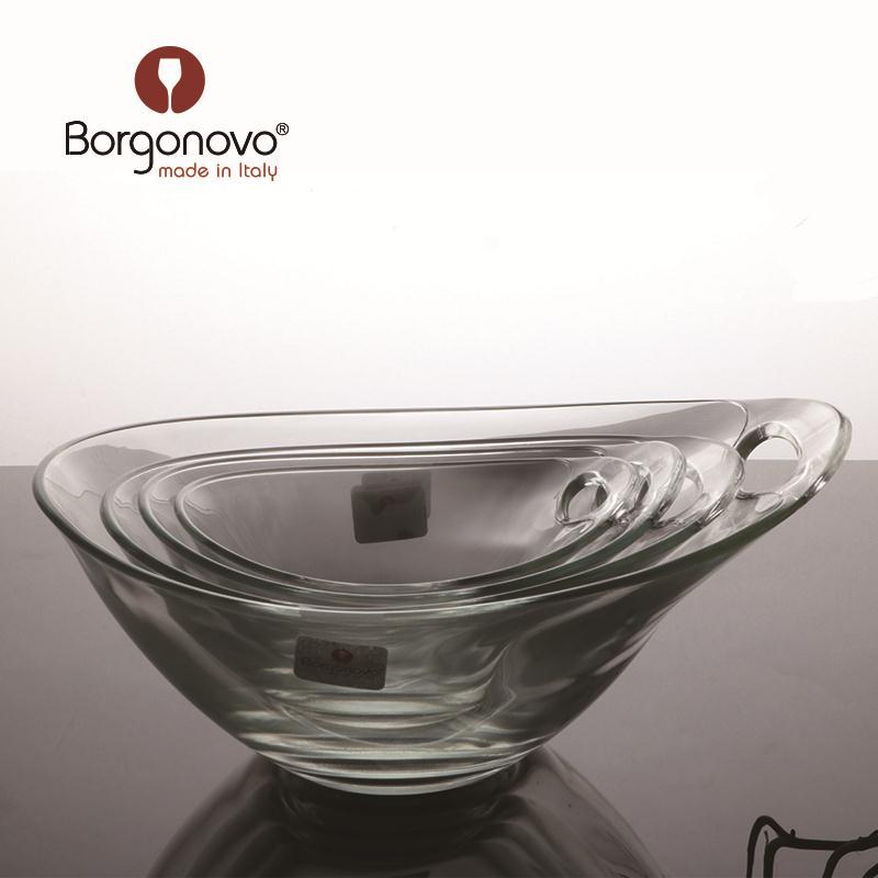 意大利原装进口博格诺玻璃果盘果斗沙拉碗有耳调味碗酱水果碗