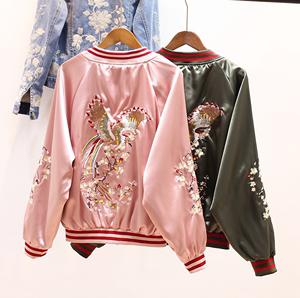 两面穿花鸟刺绣短款棒球服女2019春秋新款飞行员夹克长袖学生外套