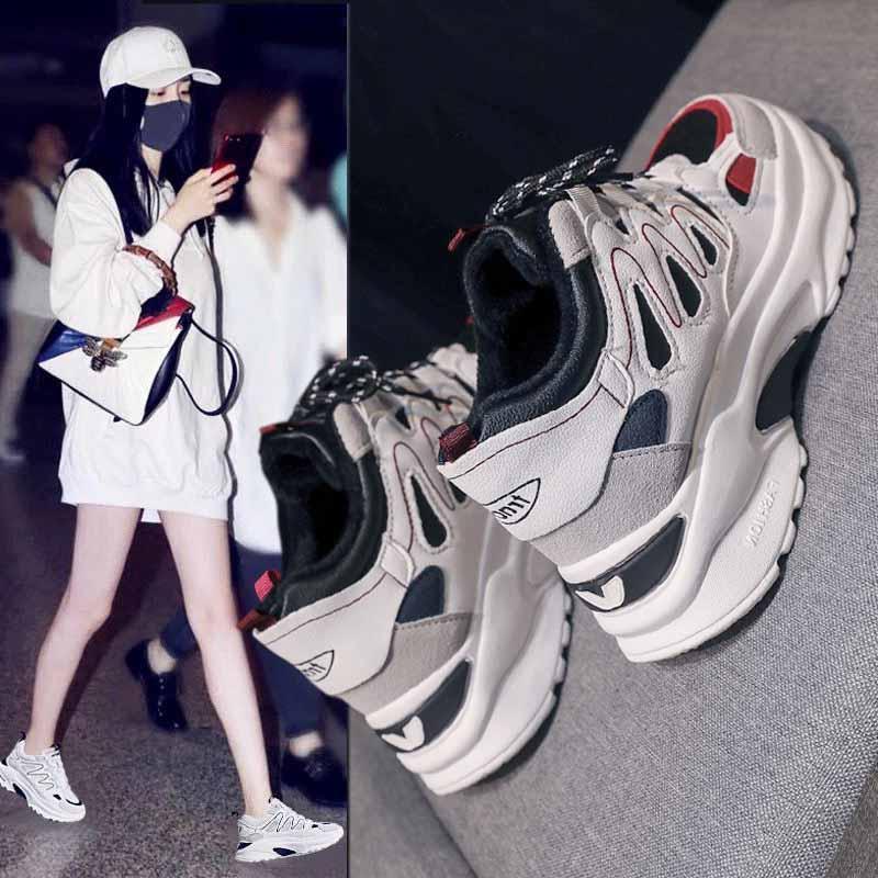 老爹鞋冬季加绒女增高秋厚底网红脏脏运动新款童鞋韩版儿童小熊鞋
