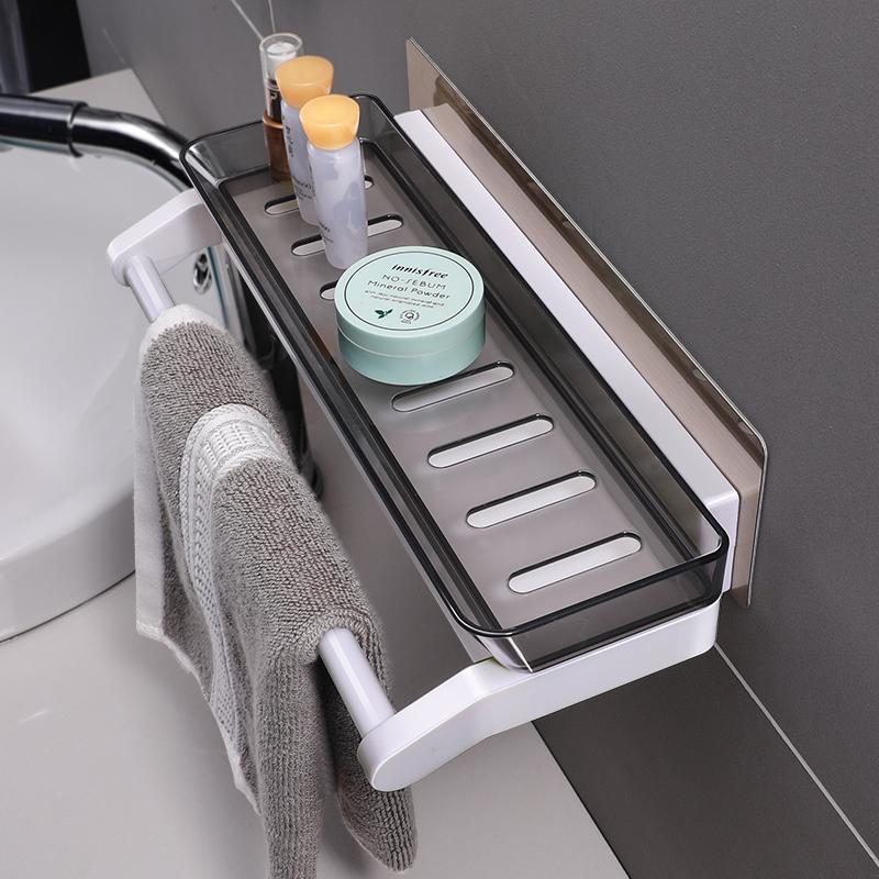 浴室置物架免打孔收纳架壁挂式卫生间洗漱用品收纳盒吸盘置物架子