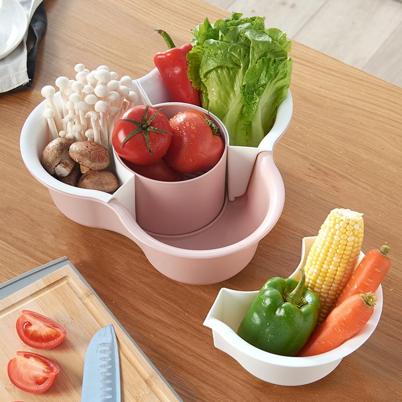抖音同款火锅拼盘沥水篮厨房塑料洗菜盆大号家用蔬菜水果分格篮子