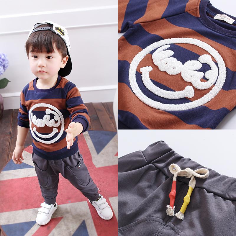 小男孩衣服 春秋條紋兩件套0~1~2~3~4歲男童套裝女童嬰兒衣服